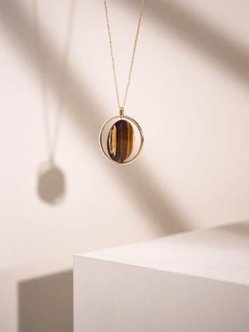 ROTATING TIGER'S EYE STONE NECKLACE