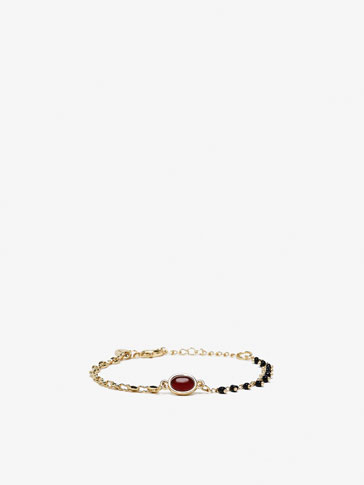 CONTRAST BRACELET WITH SEMI-PRECIOUS GEM DETAIL