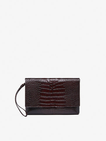 POCHETTE CUIR FINITION CROCO