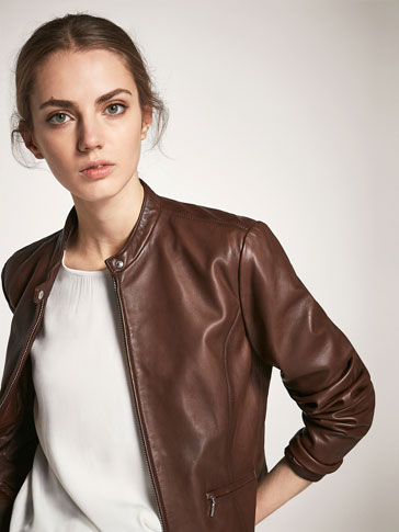 BROWN NAPPA JACKET WITH POCKET DETAILS