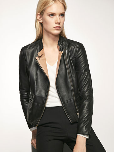 BLACK BIKER-STYLE JACKET WITH CONTRASTING INTERIOR DETAIL
