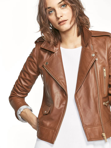 BIKER STYLE JACKET WITH ZIP DETAILS