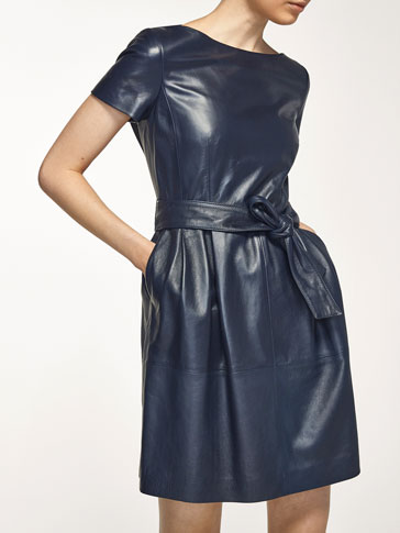 NAVY NAPPA DRESS WITH A TIE DETAIL