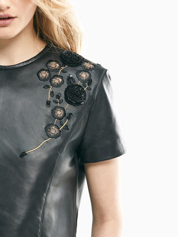 LIMITED EDITION NAPPA TOP WITH EMBROIDERY DETAIL