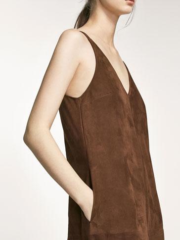 فستان جلدي بني