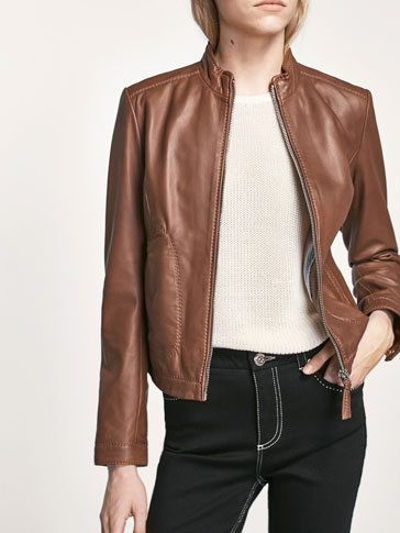 BROWN JACKET WITH TOP STITCHING DETAIL