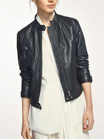BLACK LEATHER JACKET WITH POCKET DETAIL