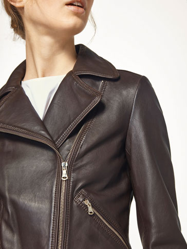 BROWN NAPPA BIKER JACKET