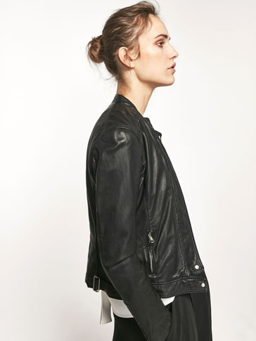 BLACK NAPPA JACKET WITH CENTRAL ZIP