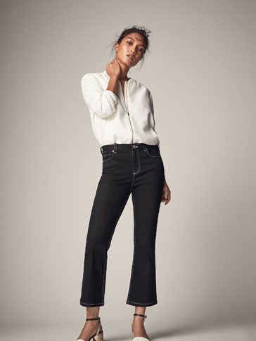 CROPPED-FIT JEANS WITH TOP STITCHING DETAIL
