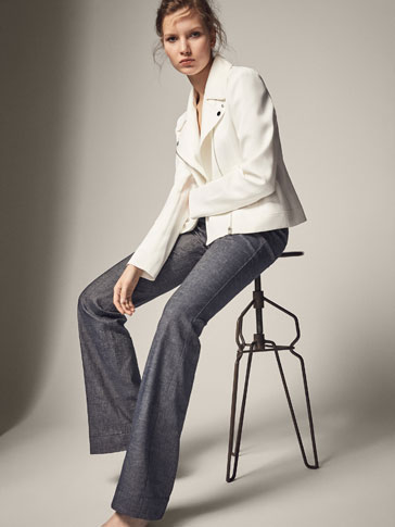 DENIM LINEN TROUSERS