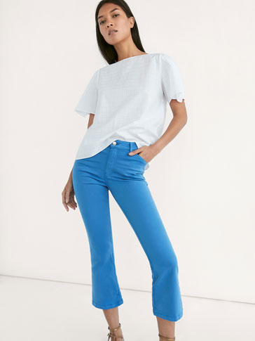 CROPPED FIT SATIN TROUSERS