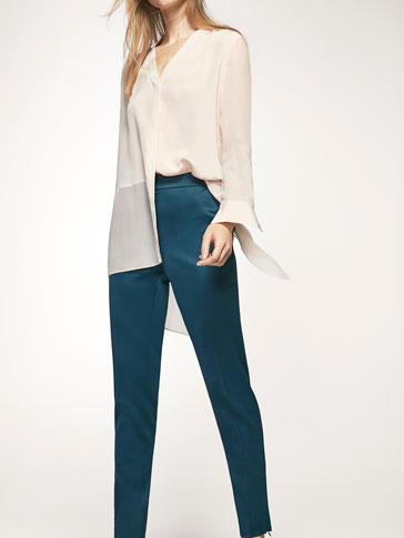 JOGGING-STYLE SATEEN TROUSERS