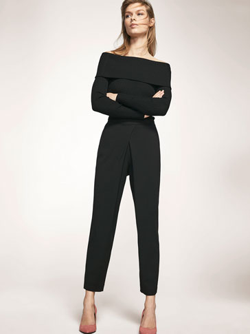BLACK TROUSERS WITH CRISS-CROSS DETAIL