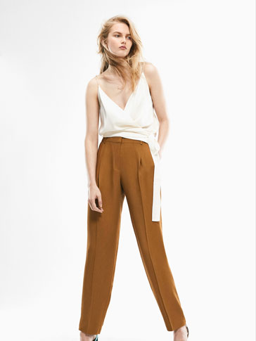 LIMITED EDITION PLEAT-FRONT MUSTARD TROUSERS