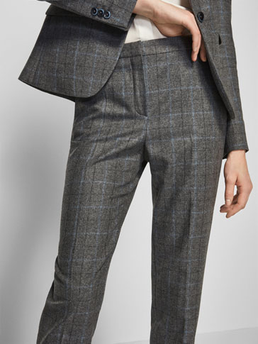 CHECKED SUIT TROUSERS WITH BLUE STRIPE DETAIL