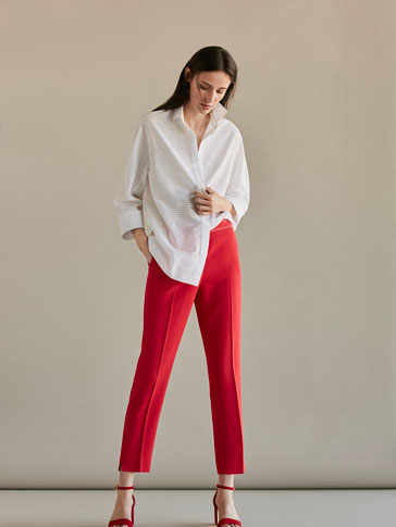 SLIM FIT CORAL TROUSERS