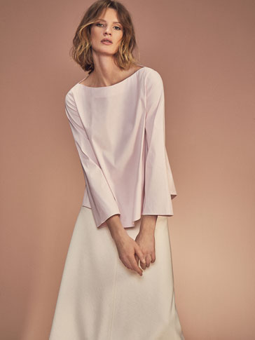 PINK BLOUSE WITH FLARED SLEEVES