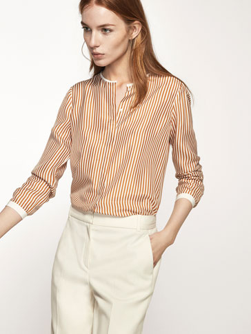 STRIPED SILK SHIRT WITH A CONTRASTING DETAIL