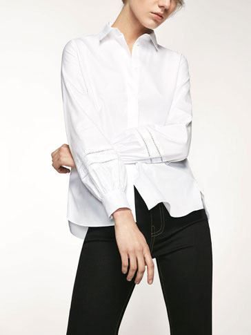 SHIRT WITH INSERTION LACE AND GROSGRAIN