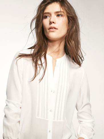 WHITE SILK BLOUSE WITH A BIB FRONT