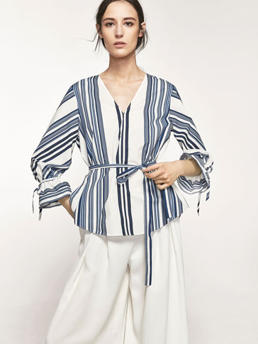 SHIRT WITH NAVY BLUE STRIPES PRINT AND FRILL DETAIL