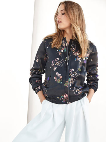 BLACK BOMBER STYLE JACKET WITH FLORAL PRINT