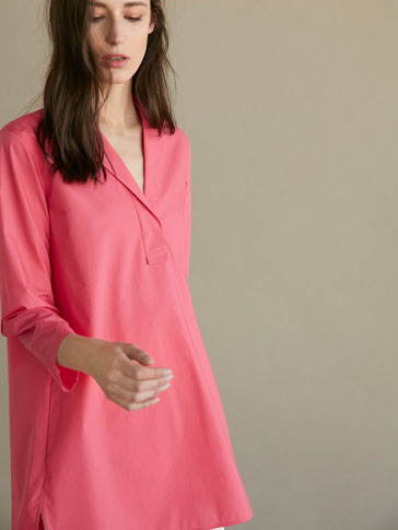PLAIN POPLIN OVERSIZED BLOUSE
