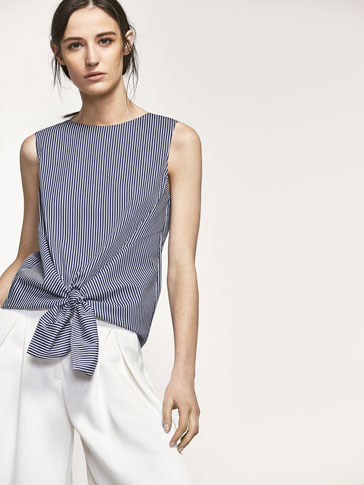 STRIPED TOP WITH KNOT DETAIL