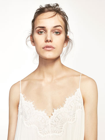 TOP LACE PLISADO LISO
