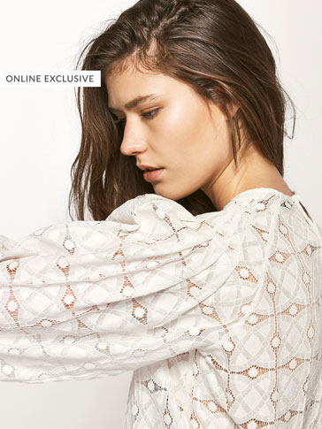 BLOUSE WITH GEOMETRIC GUIPURE LACE DETAIL