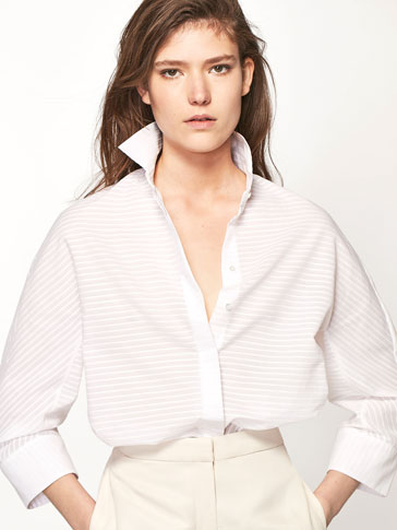 STRIPED TEXTURED WEAVE OVERSHIRT
