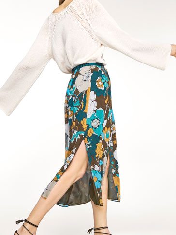 SILK SKIRT WITH FLORAL PRINT