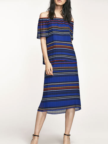 STRIPED PRINT PLEATED SKIRT