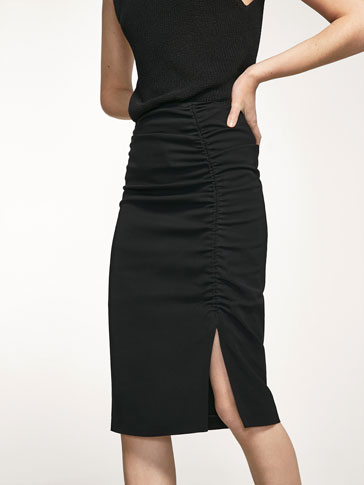 BLACK SKIRT WITH DRAPED DETAIL