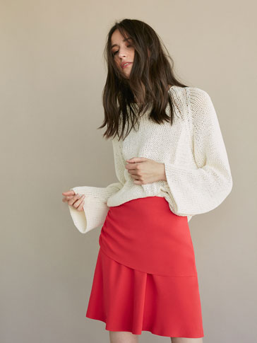 DOUBLE LAYER SKIRT WITH GATHERING DETAIL