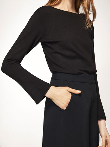 SWEATER WITH BELLED SLEEVES
