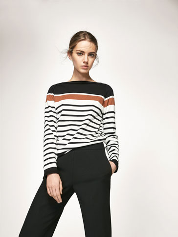 KNIT SWEATER WITH STRIPED DETAIL