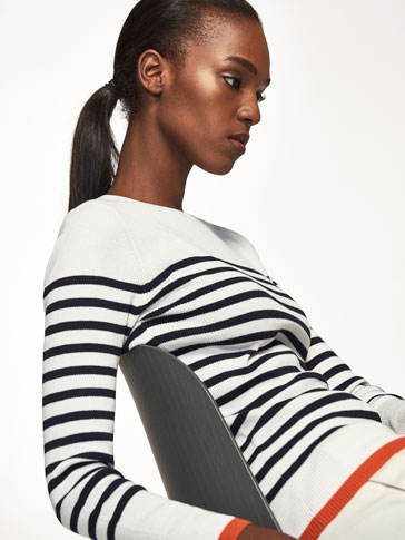 STRIPED AND RIBBED SWEATER WITH CONTRASTING DETAILS