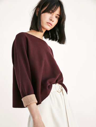 CAPE SWEATER WITH FOLDED DETAIL