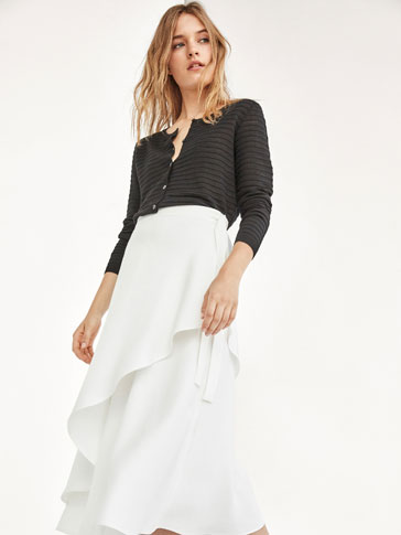 STRIPED TEXTURD WEAVE CARDIGAN WITH SHEER DETAILS