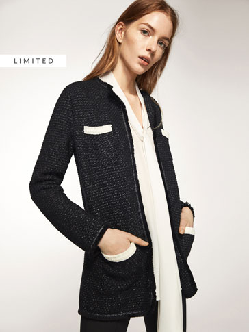 PATTERNED CARDIGAN WITH CONTRASTING POCKET