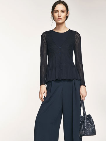 TEXTURED WEAVE CARDIGAN WITH FRILL DETAIL ON HEM