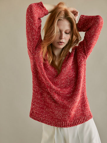 KNIT SHIMMER SWEATER