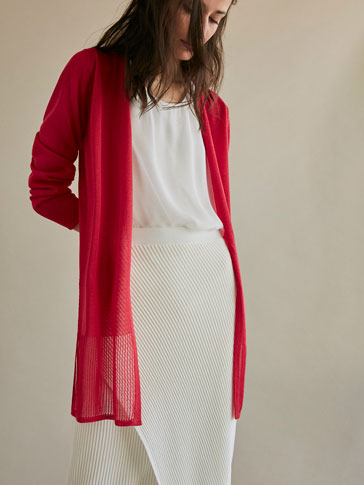 KNIT CARDIGAN WITH HEM DETAIL