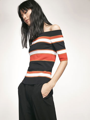 RIBBED SWEATER WITH STRIPED DETAIL