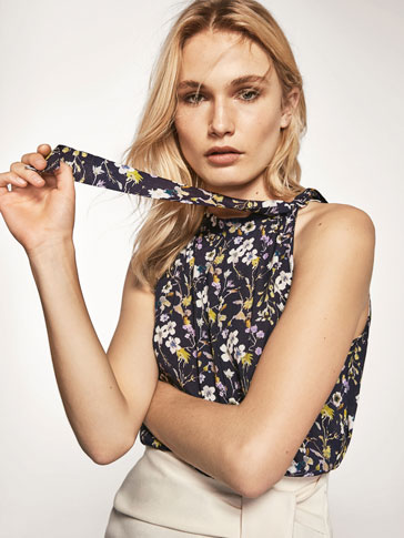 FLORAL PRINT TOP WITH BOW DETAIL