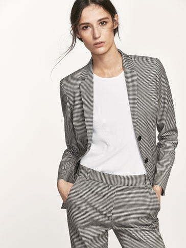 GINGHAM CHECK SUIT BLAZER