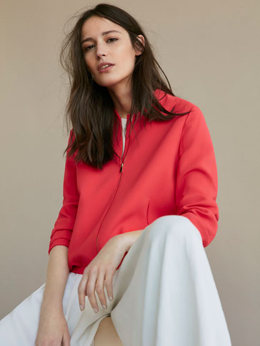 CORAL BOMBER-STYLE JACKET