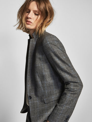 CHECKED SUIT BLAZER WITH BLUE STRIPE DETAIL